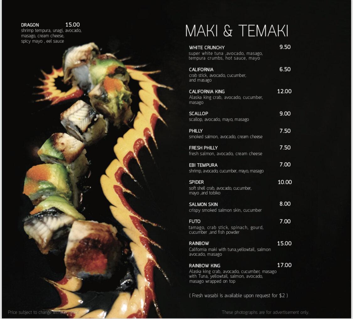 Seadog maki & temake menu 1