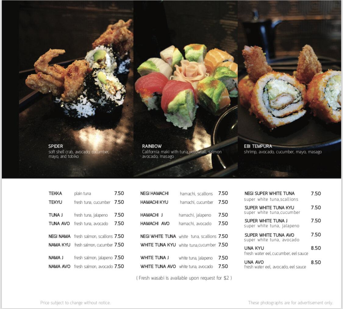 Seadog maki & temake menu 2