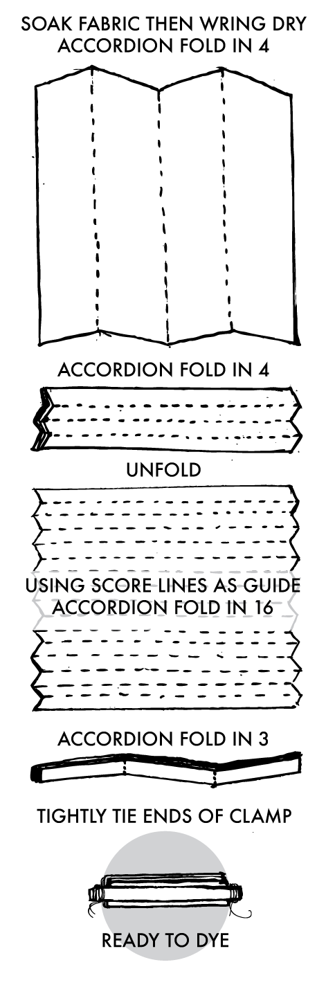 Clamped Shibori Stripe Instructions