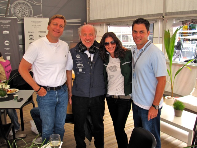 Leman's Auto Race, from left to right: Johan Jervoe, UBS, Global CMO, David Richards, Owner and Chairman of Aston Martin, Tami Holzman (Me)  and Jamie Posnanski, Former Co-Founder of avVenta and Managing Director Accenture Interactive.