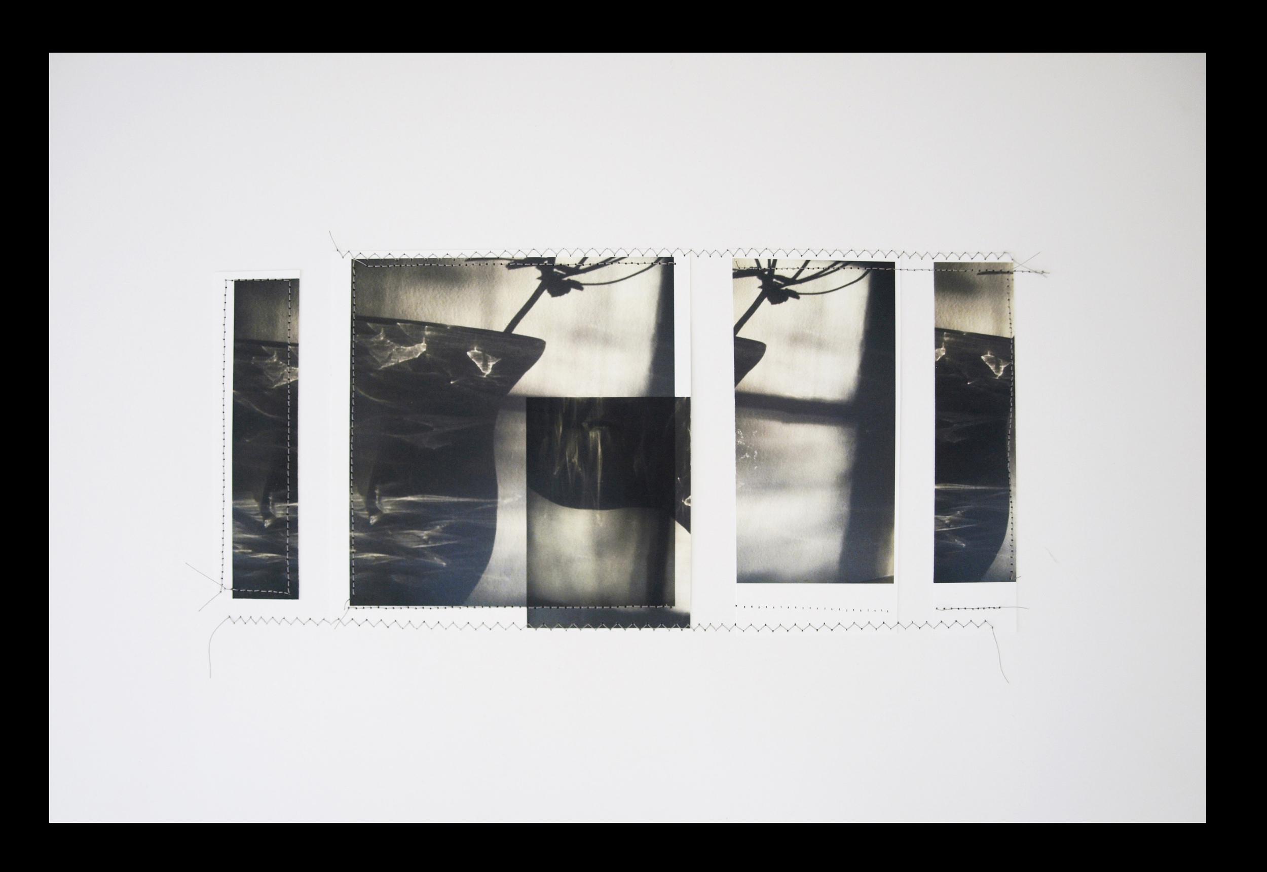 "Shatter, 11""x17"", Overprint montage/silk thread, 2013"