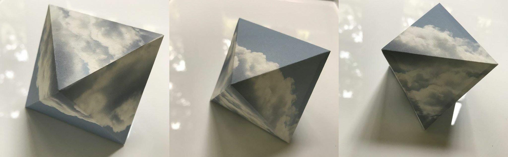 "Rene's Sky, 3.5""x2.5"" (each), rice paper, 2017"