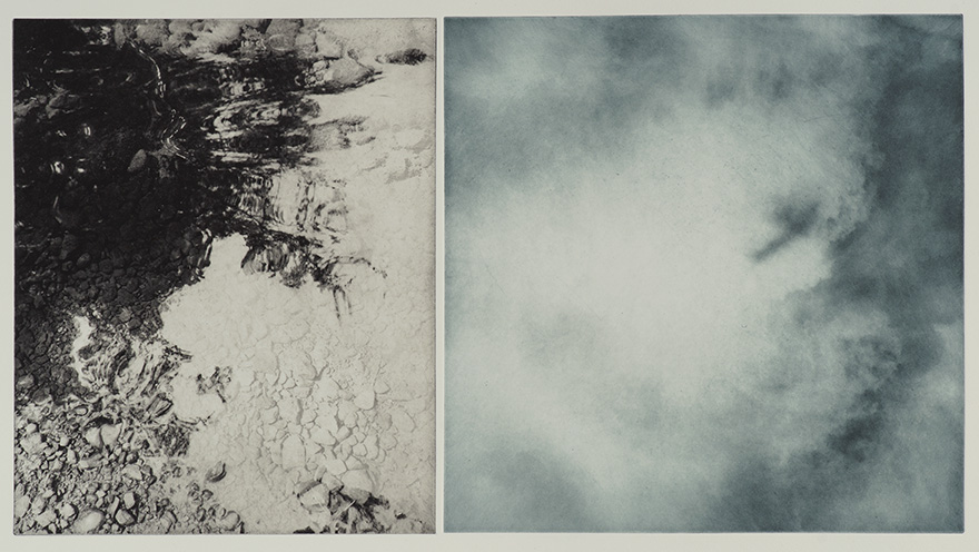 "River/Clouds, duo-tone photogravure, ed. of 3. 30""x22"", 2018"