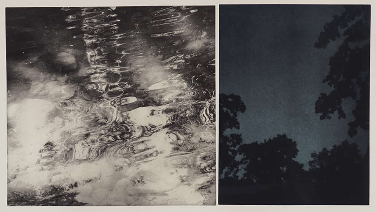 "Rivulets/Nightsky, duo-tone photogravure, ed. of 3. 30""x22"", 2018"