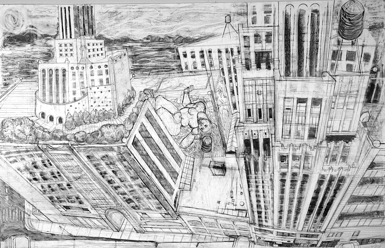 """THE ALCHEMIST IN THE CITY"" , graphite on plot paper, 36"" x 54"" 2018 © Lourdes Bernard"