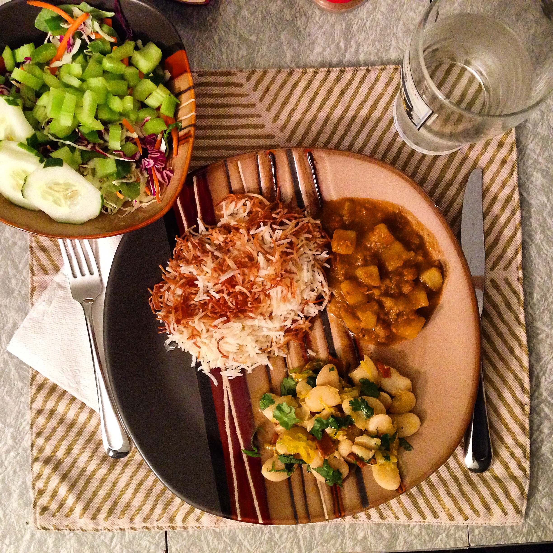 lebanese rice pilaf, southern-style white beans, salad.JPG