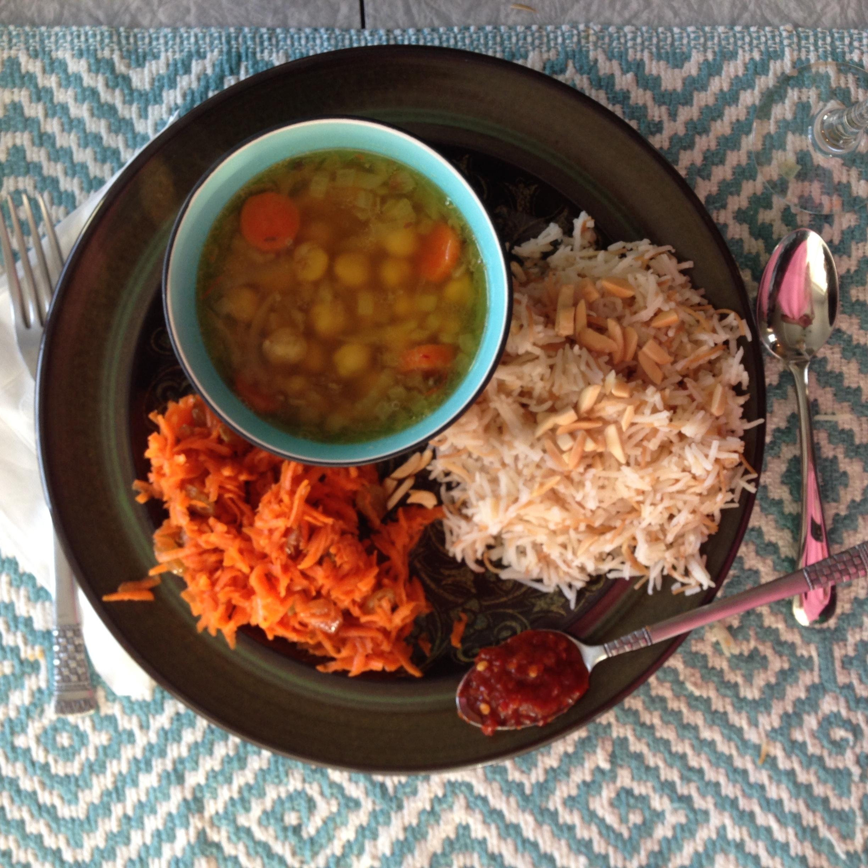 lebanese rice, orange blossom carrots, lentil soup.jpg