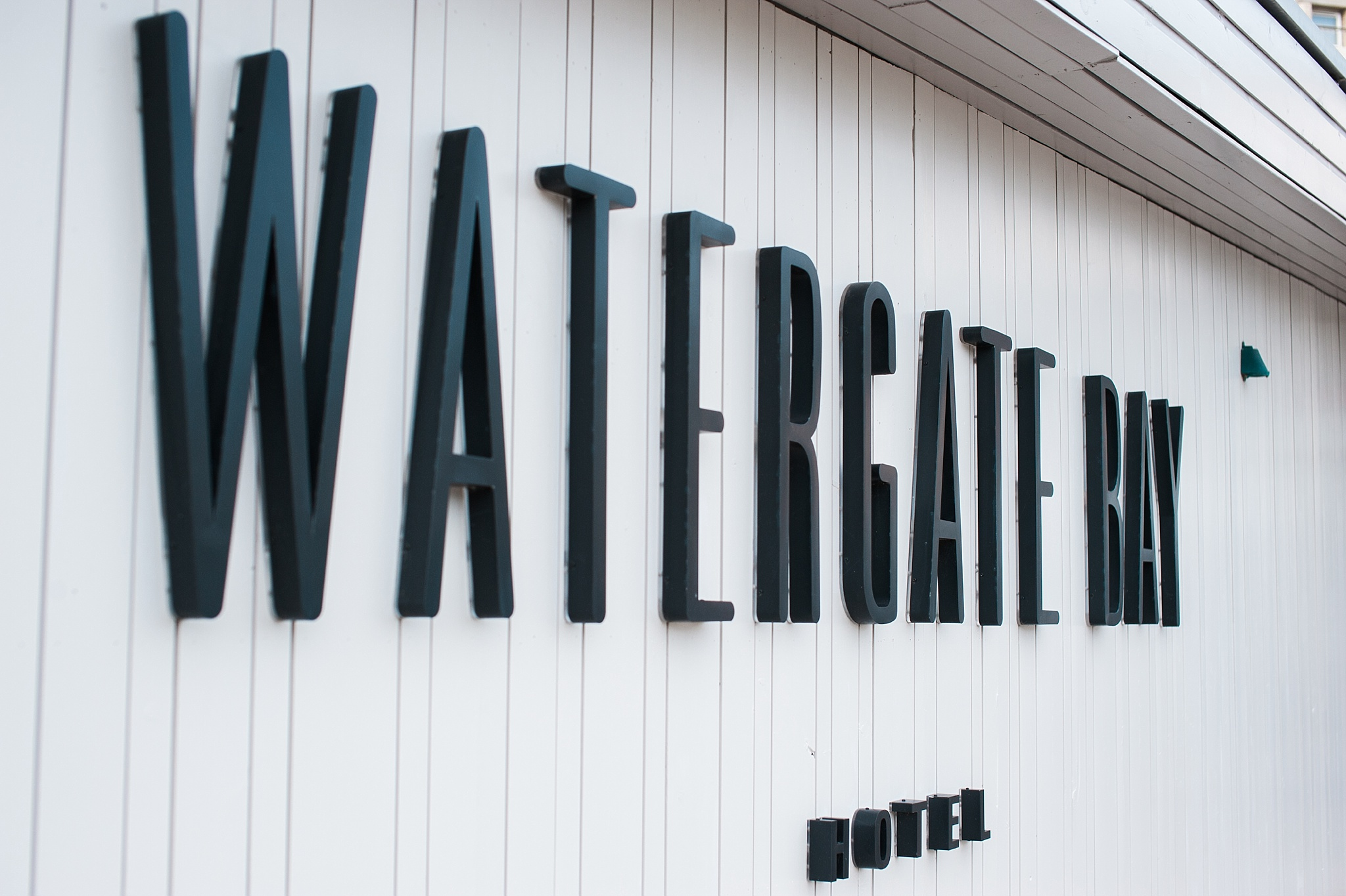 sign for the watergate bay hotel in Newquay, Cornwall
