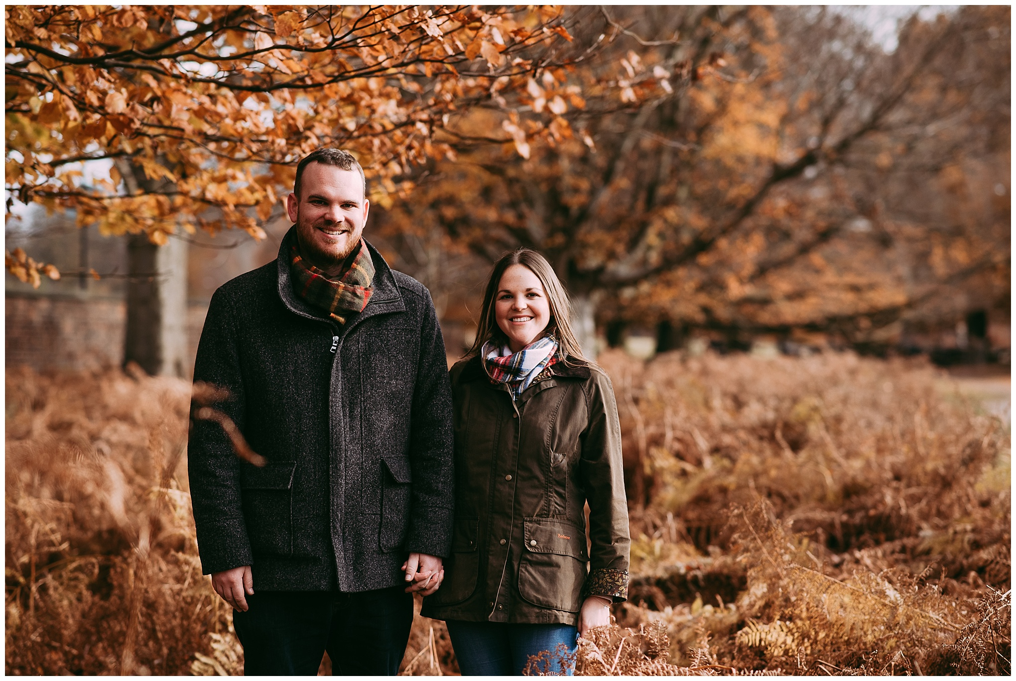 North west Engagement shoot. Couple walking in woods holding hands