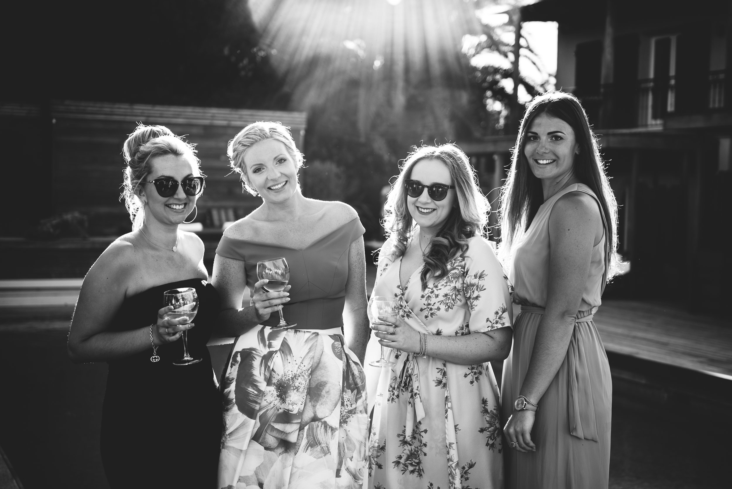 black and white photo of Bride-to-be with her friends