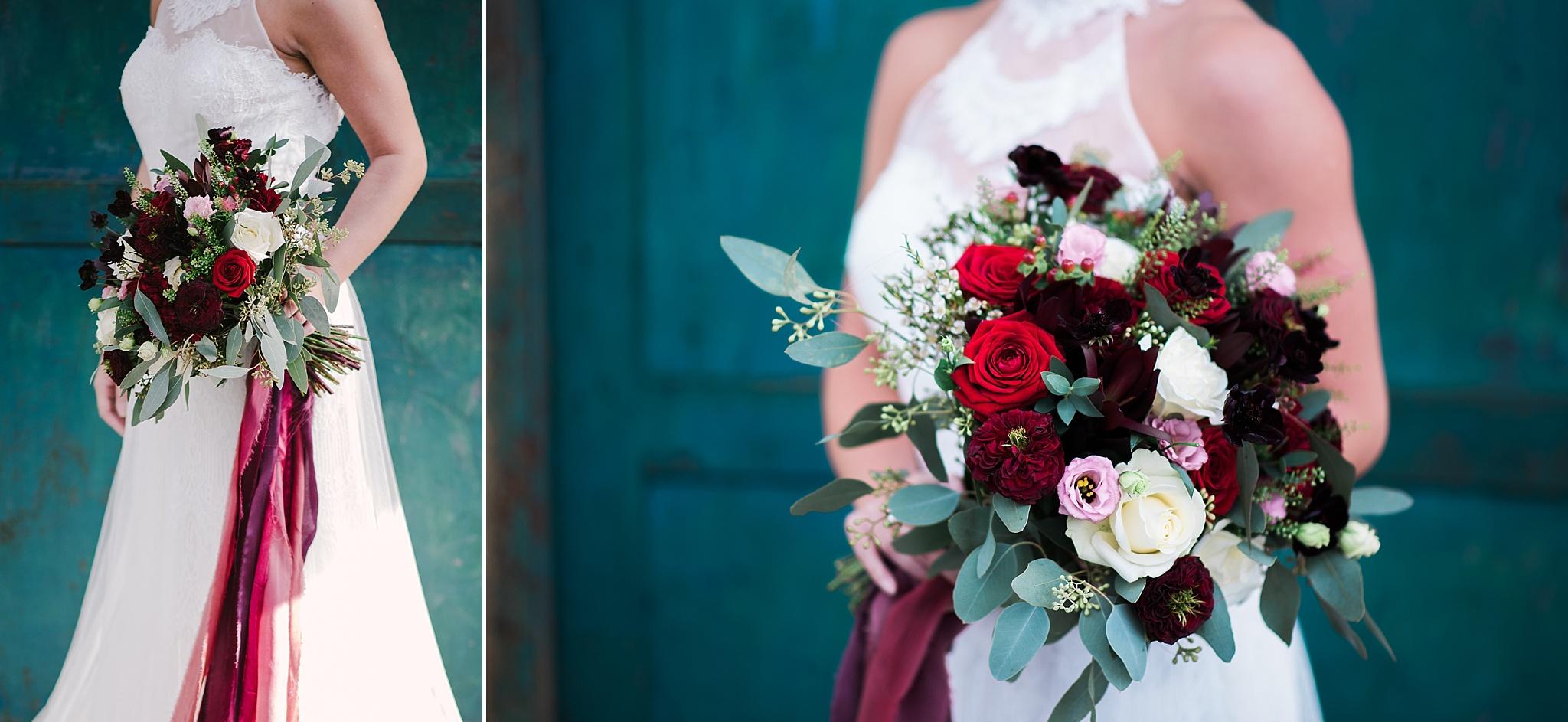 Closeup of the brides wedding bouquet.