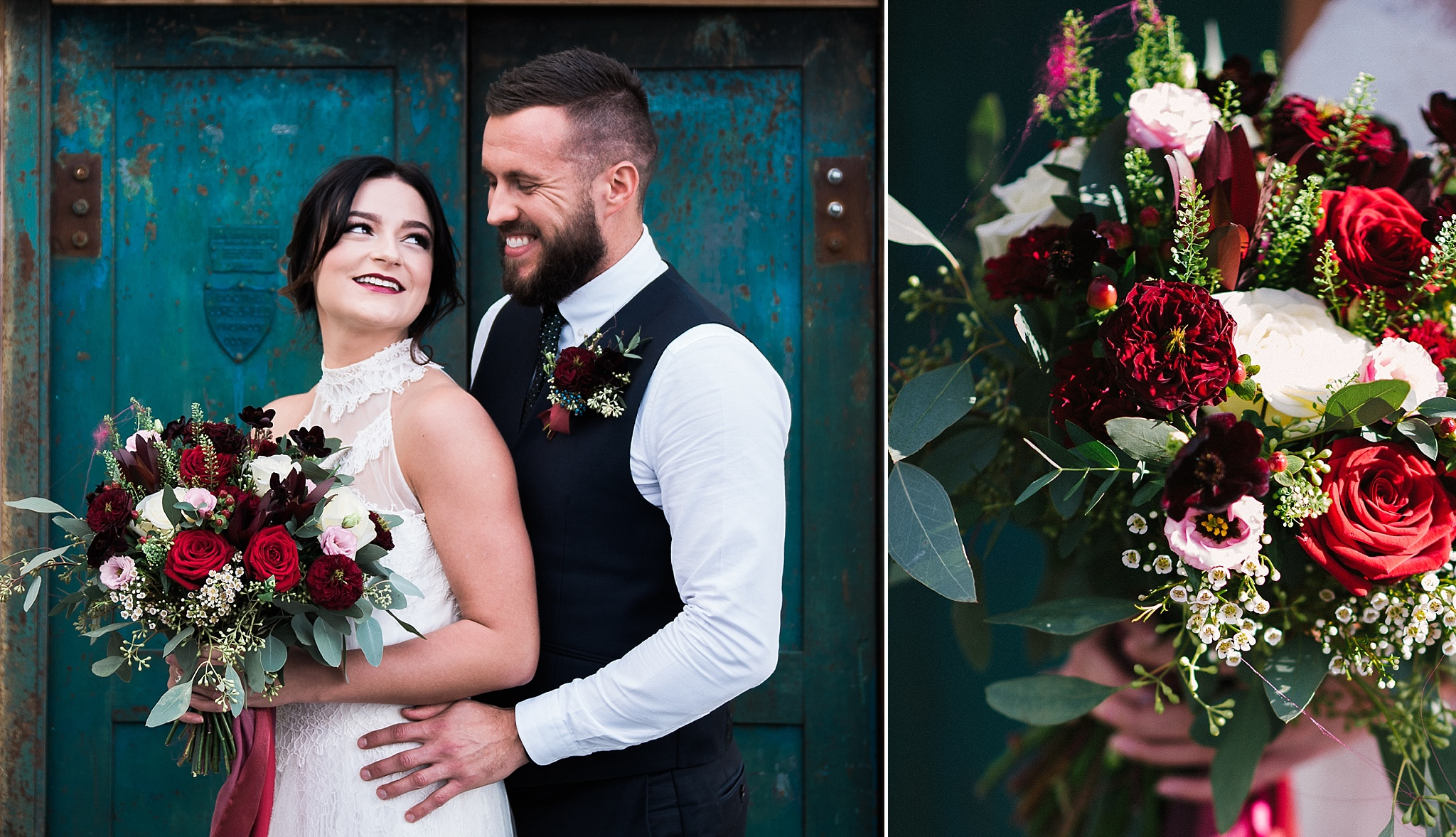 Natural shot of bride and groom looking at one another outside The Wellbeing Farm, Bolton. Lancashire wedding photography.