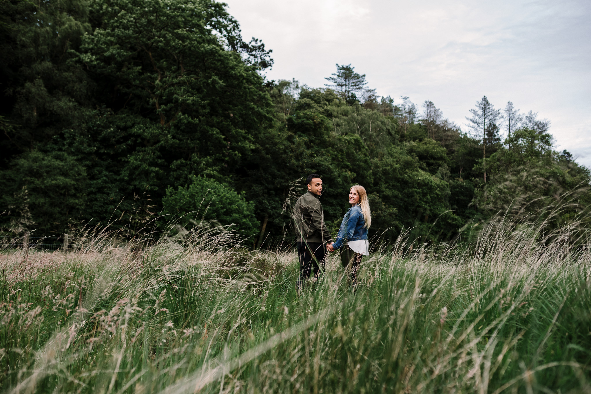 Walking in long grass at Entwistle Reservoir. Natural photography, Lancashire