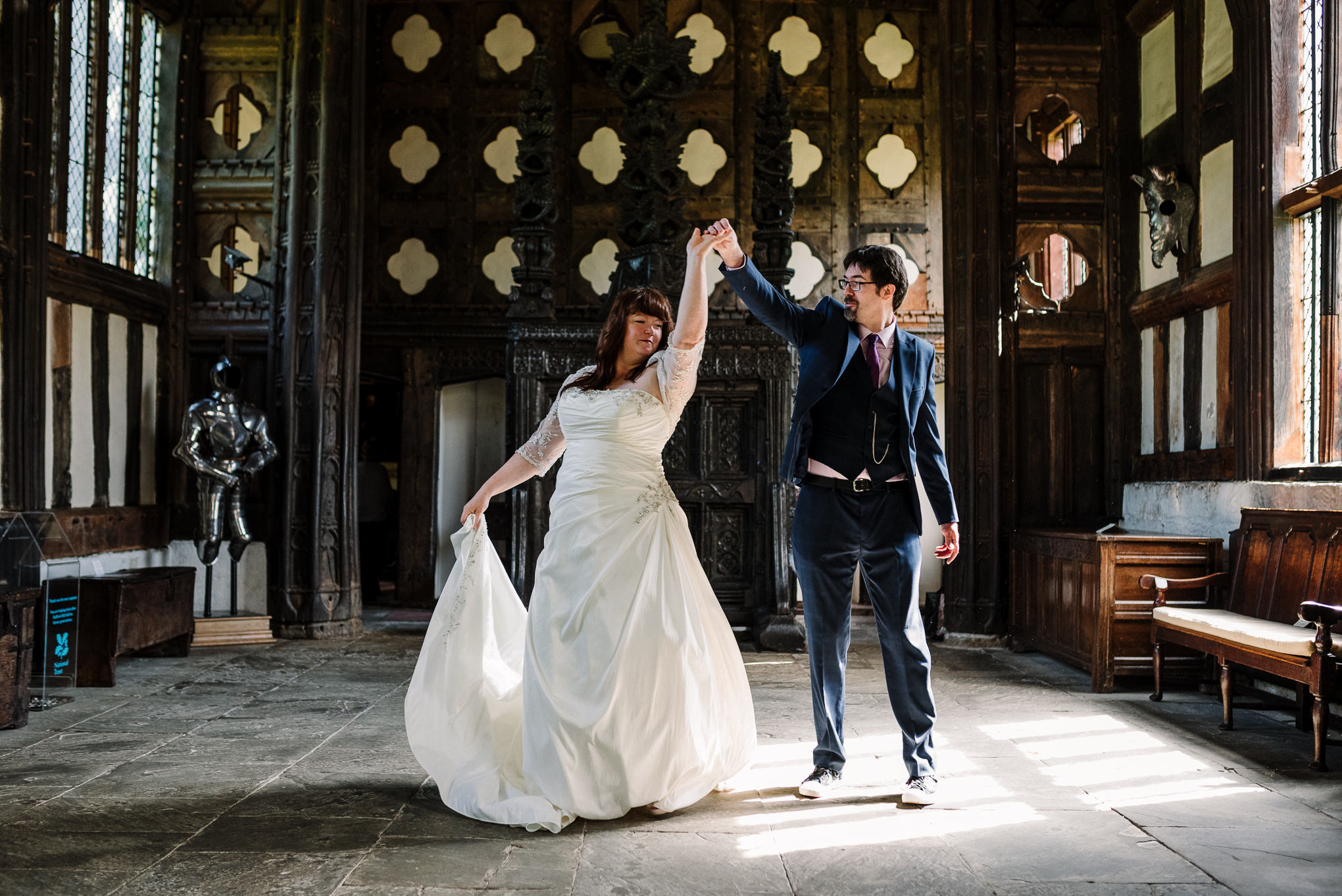 Bride and groom dancing in the Great Hall at Rufford.