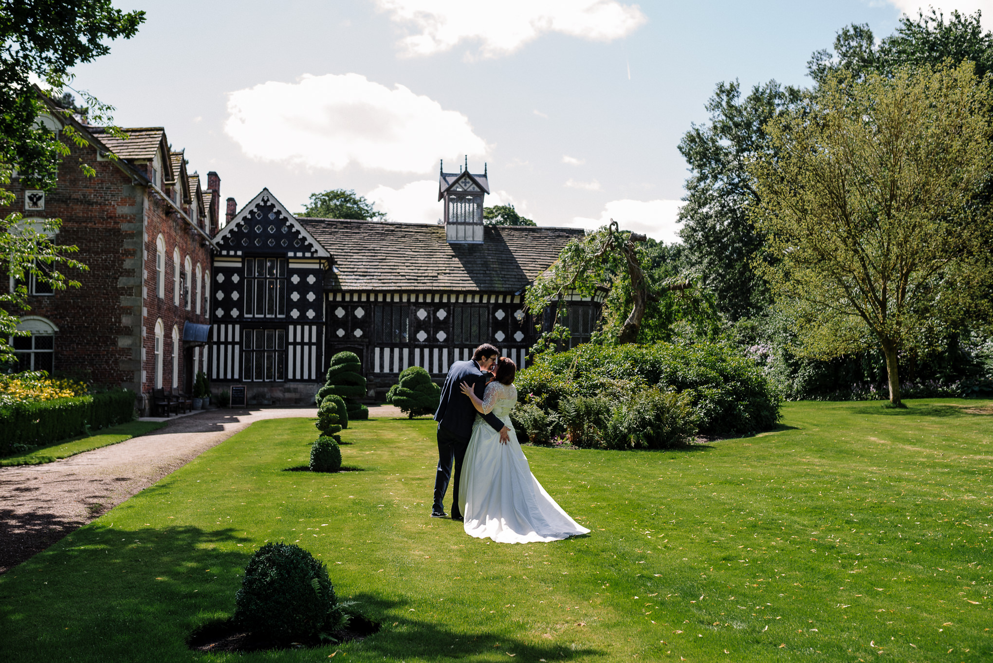 Walking in the gardens at Rufford Old Hall.