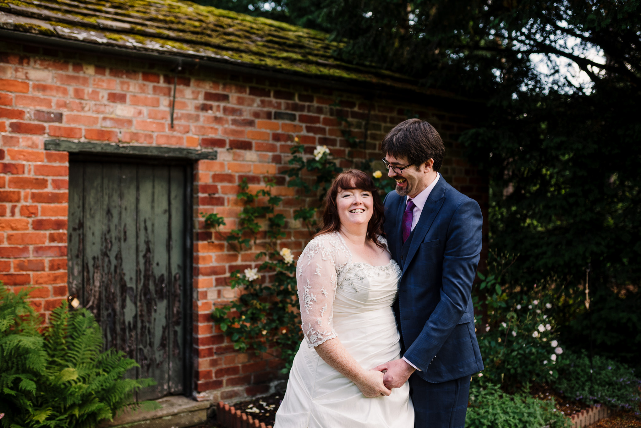 Natural photograph of bride and groom. Rufford wedding photography