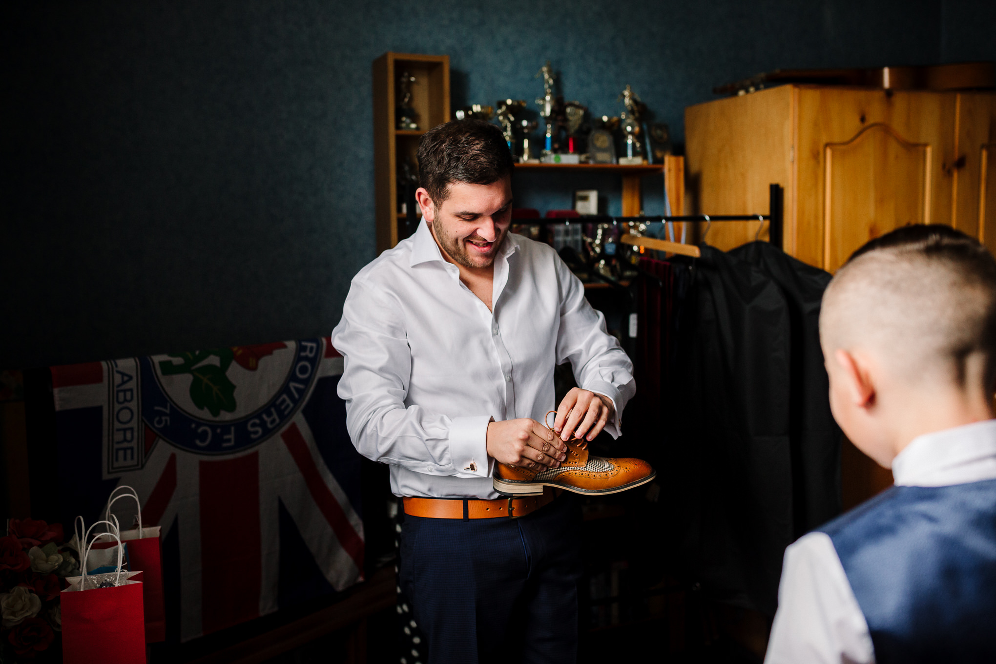 Groom getting ready for the wedding. Lancashire wedding photography.