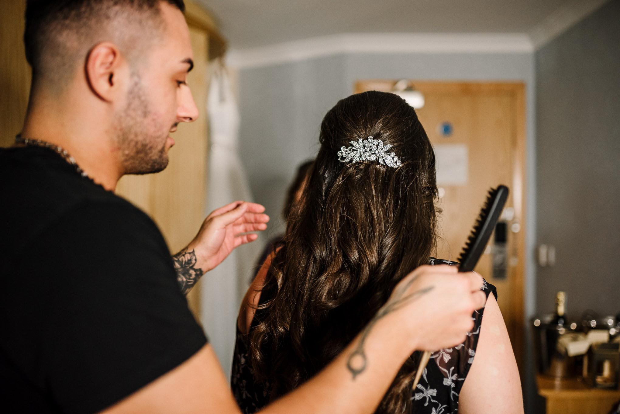 Detailed shot of brides hair
