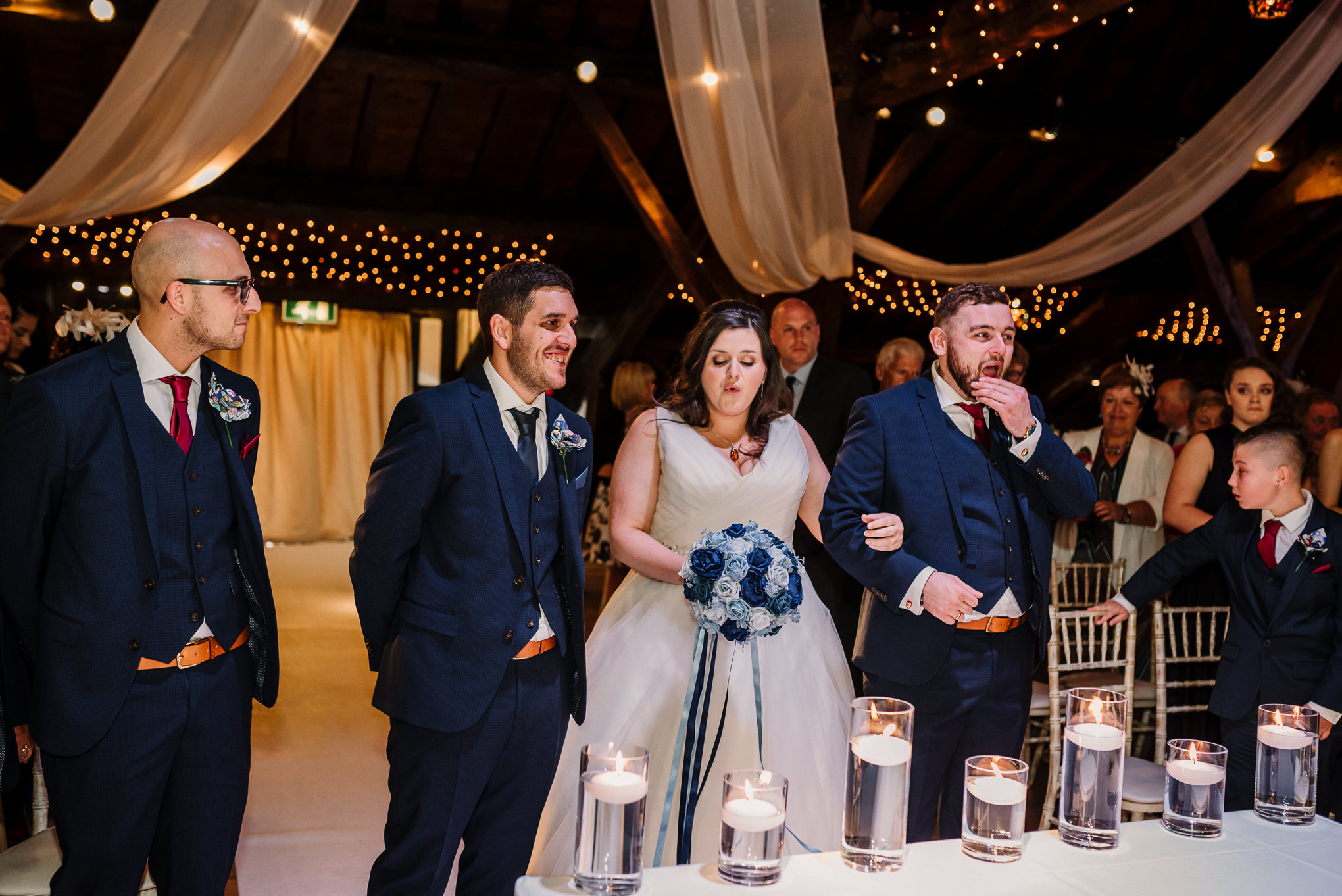 Bride and groom seeing each other for the first time. Rivington Hall Barn.