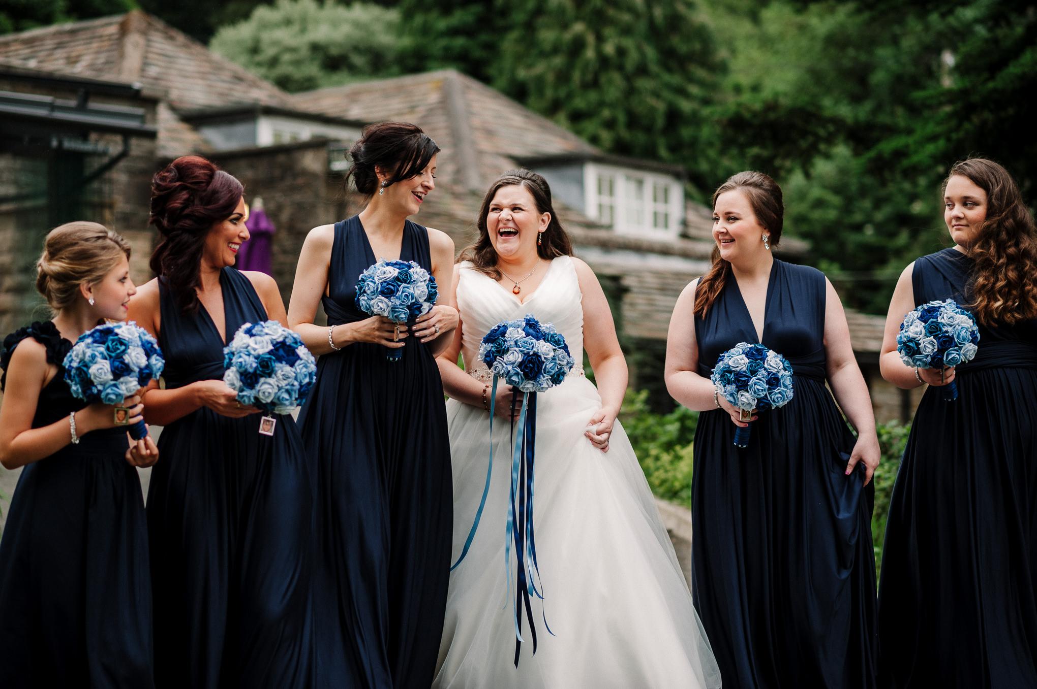 Bridesmaids laughing. Lancashire wedding photography.