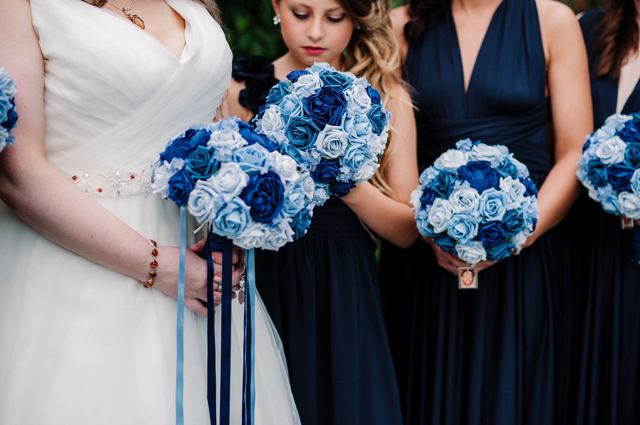 Detailed shot of the bridesmaids bouquets.