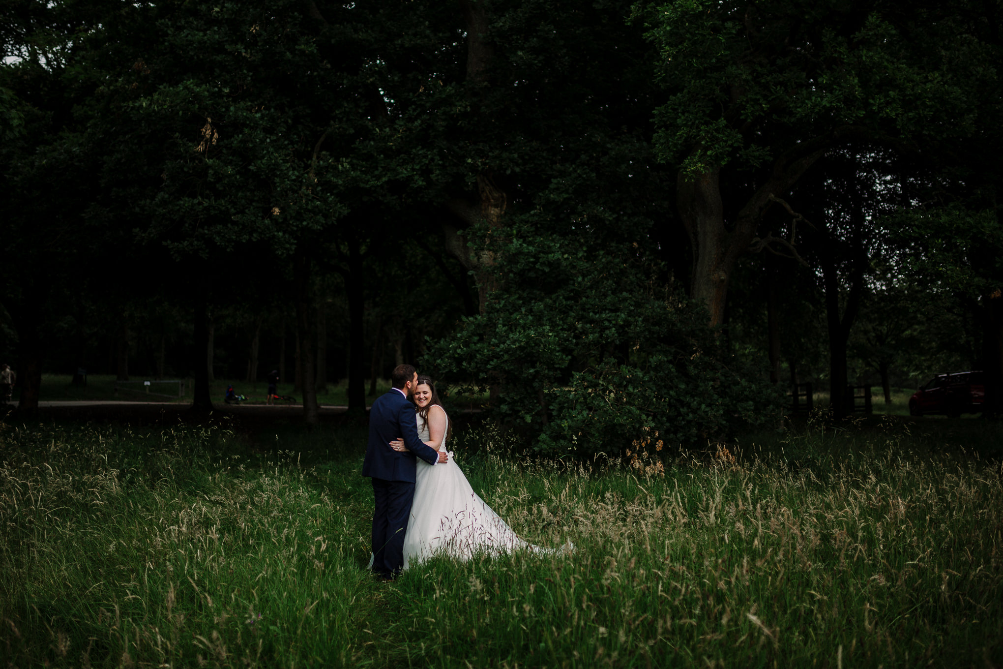 Portrait of bride and groom in the woods at Rivington Hall. Lancashire wedding photography.