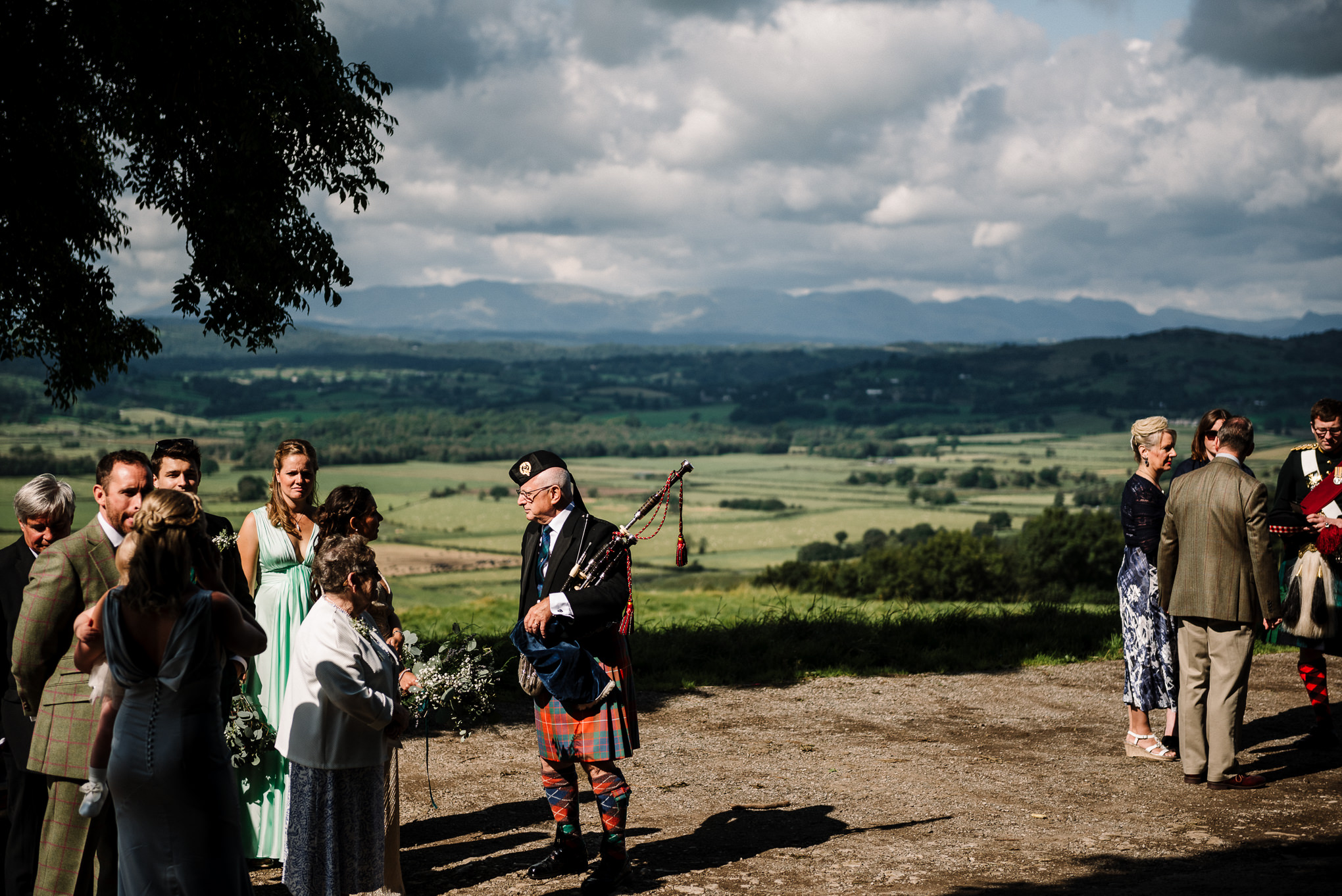 landscape shot of the view from the church whilst guests wait for bride to arrive