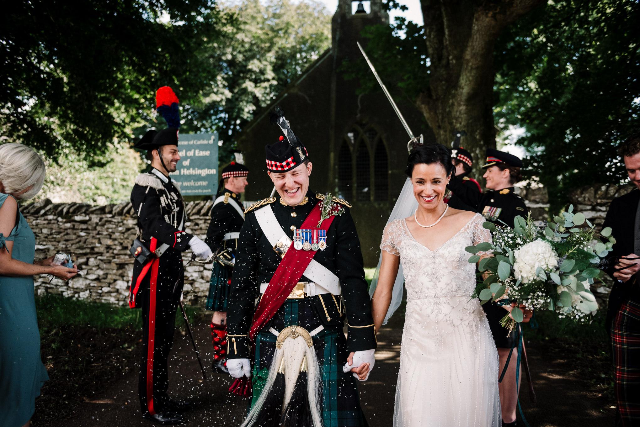 Natural confetti shot. Lake District wedding photographer