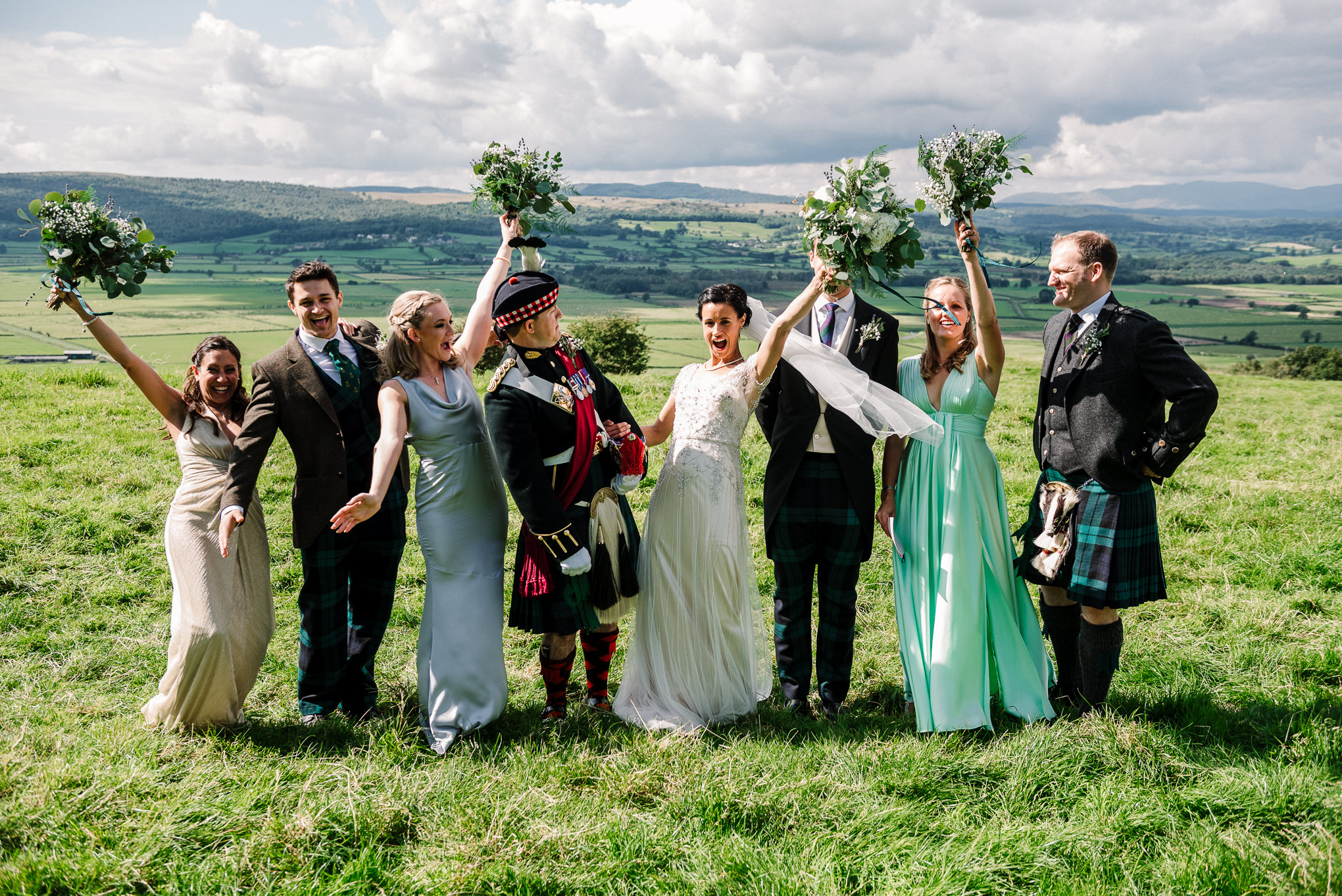 Bridal party with a view of the Lake district.