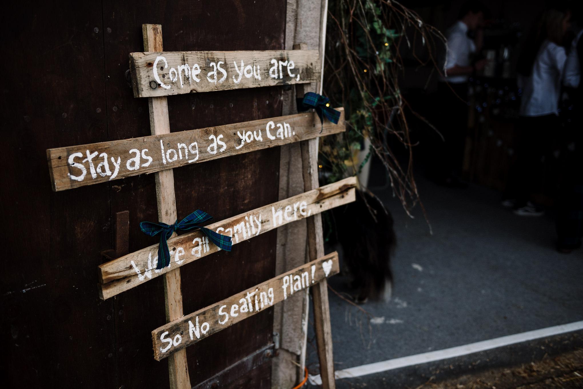 Homemade rustic wedding sign