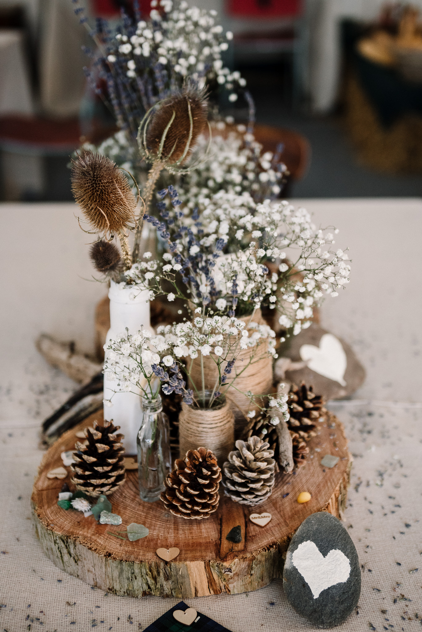 Table centre piece with gypsophila and lavender. Rustic farm wedding