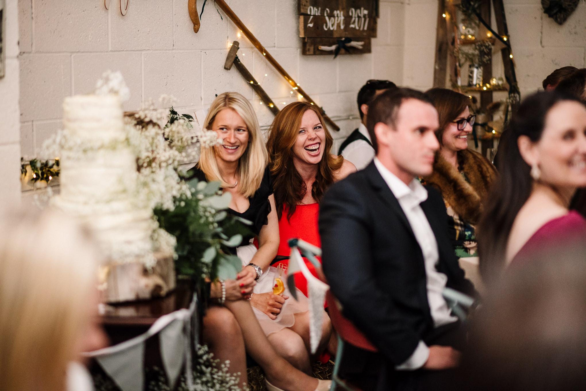 Natural shot of guests laughing