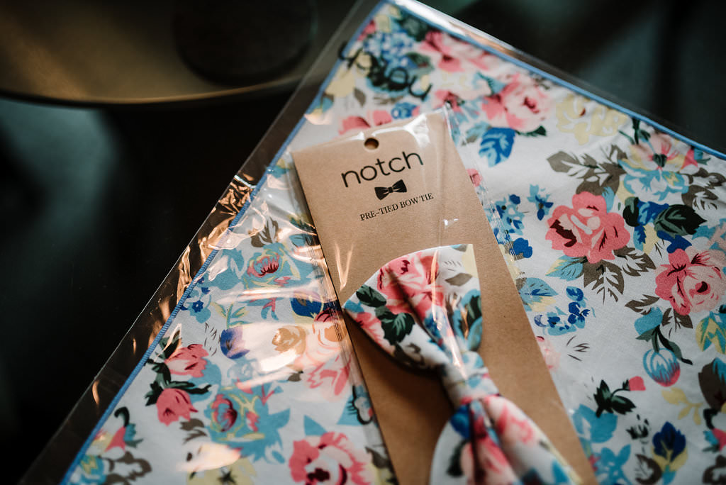 Detailed shot of floral dickie bow