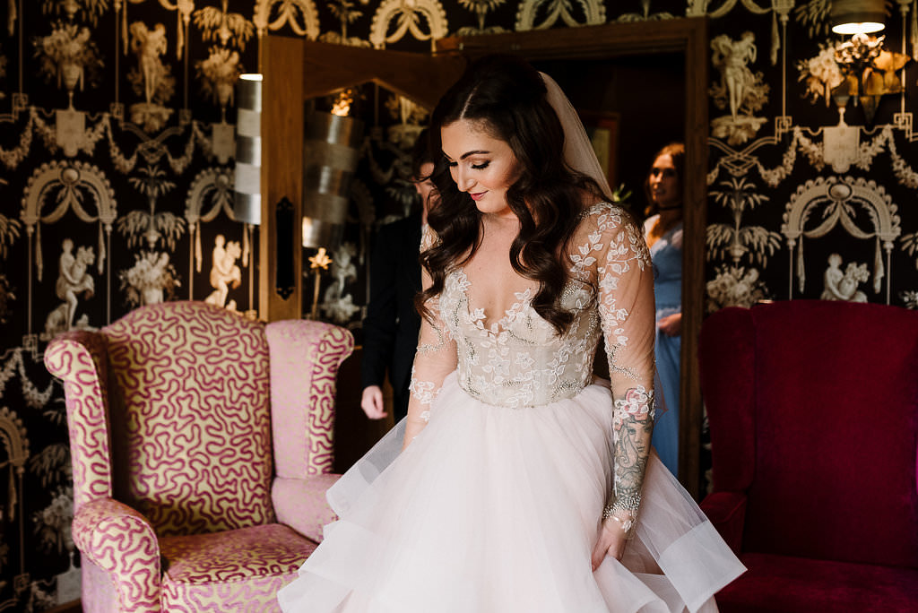 Bride ready for the wedding ceremony at Stanley House Hotel. Ribble Valley wedding photography
