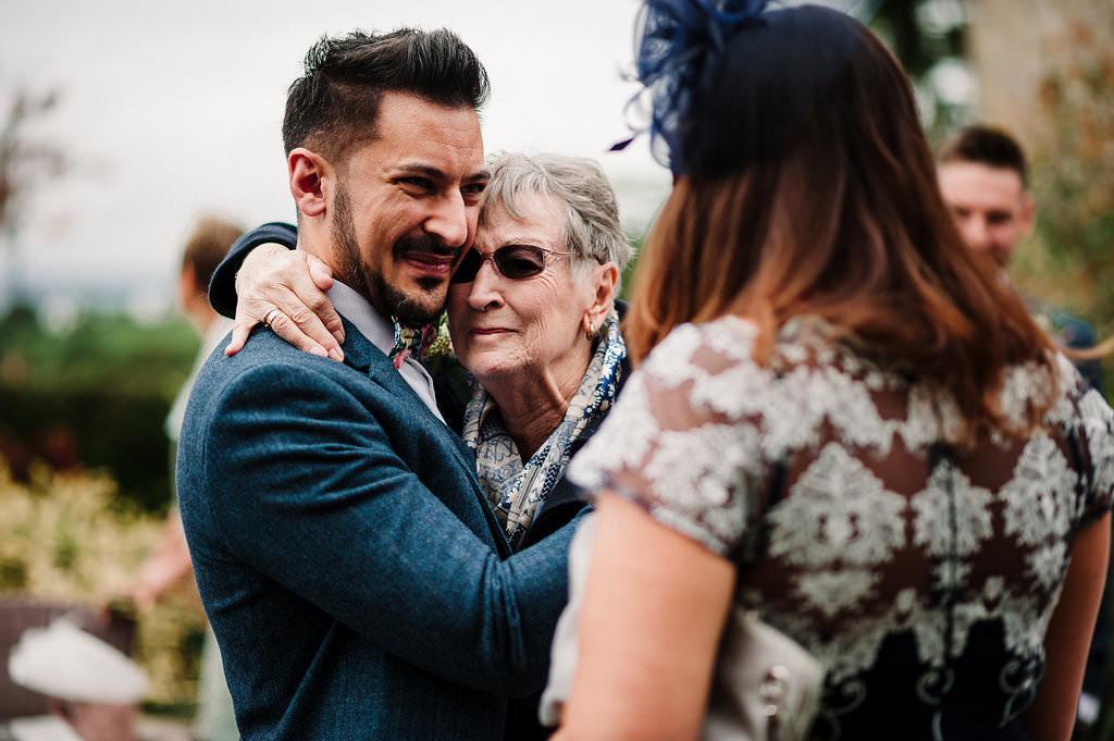 groom with his gran. Modern wedding photography
