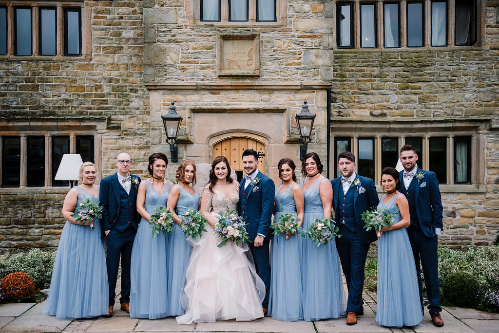 Portrait of bridal party together. Ribble Valley wedding