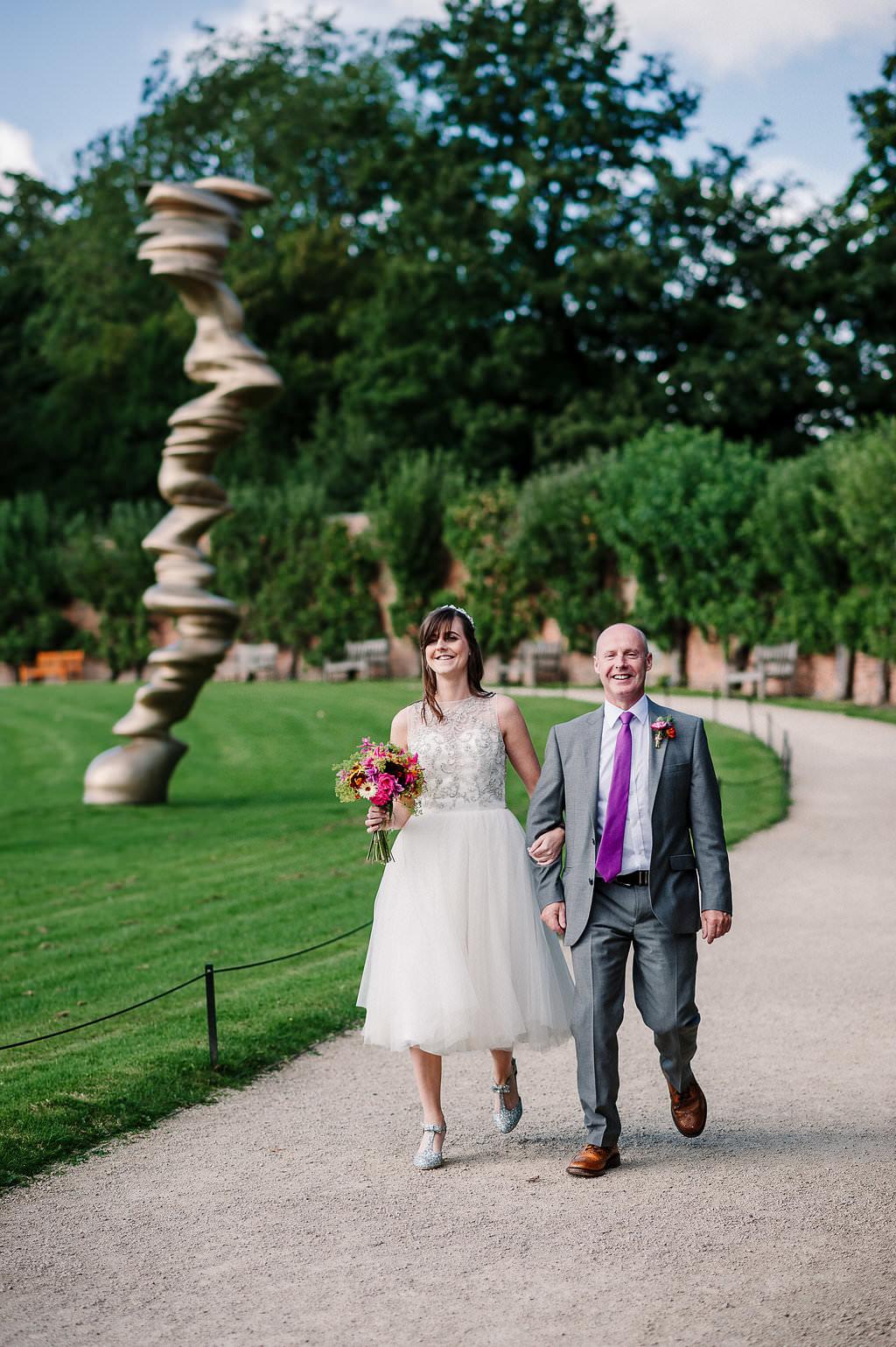 Bride arriving at Yorkshire Sculpture Park