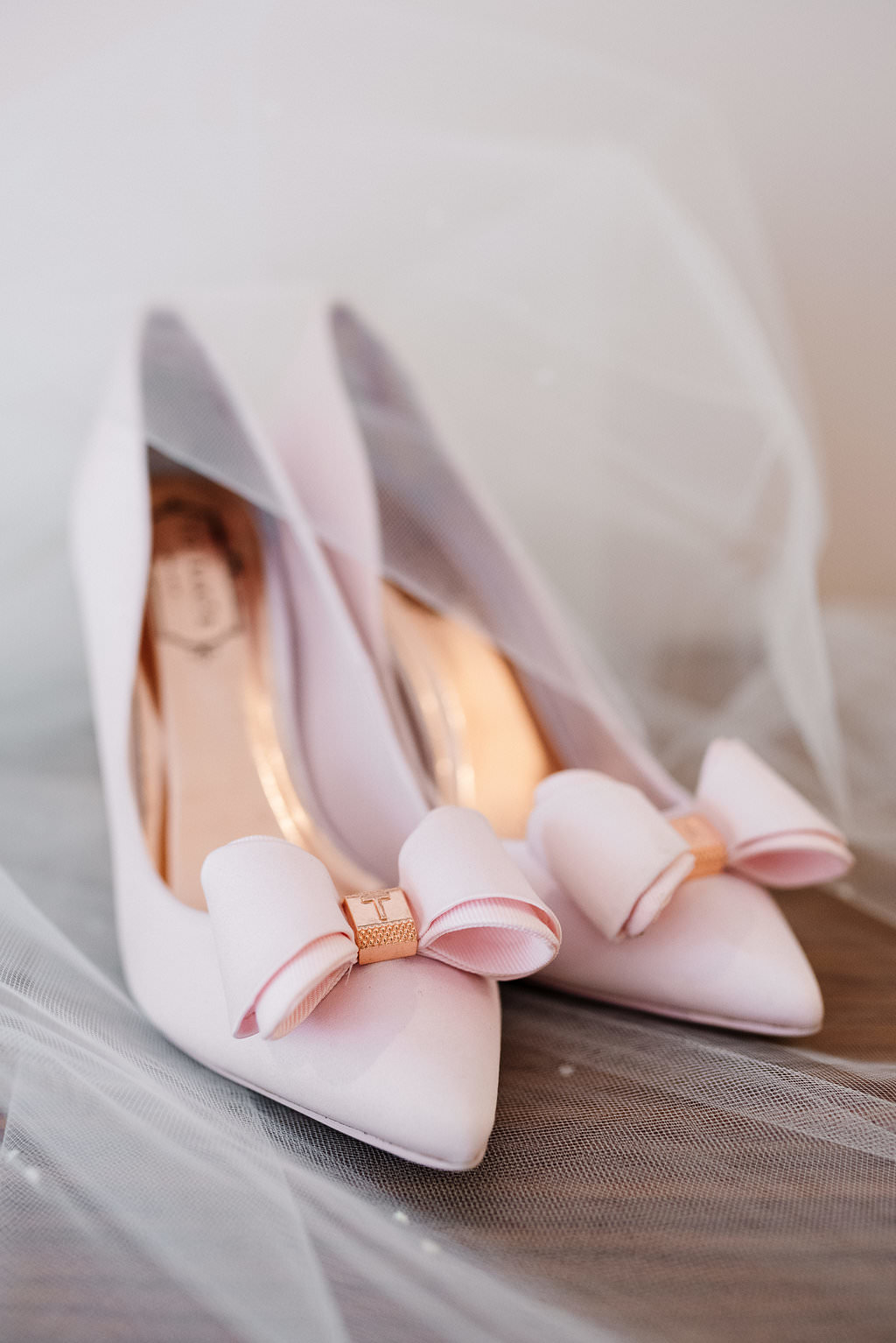 Brides baby pink Ted Baker shoes. Lancashire wedding photography
