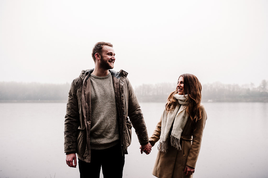 Natural shot of couple laughing