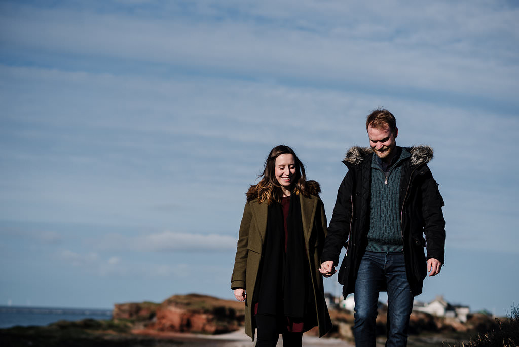 Natural portrait of couple on Hilbre Island. West Kirby engagement photography