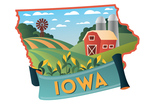 Iowa is significant producer of corn, soybeans and hogs nationwide.