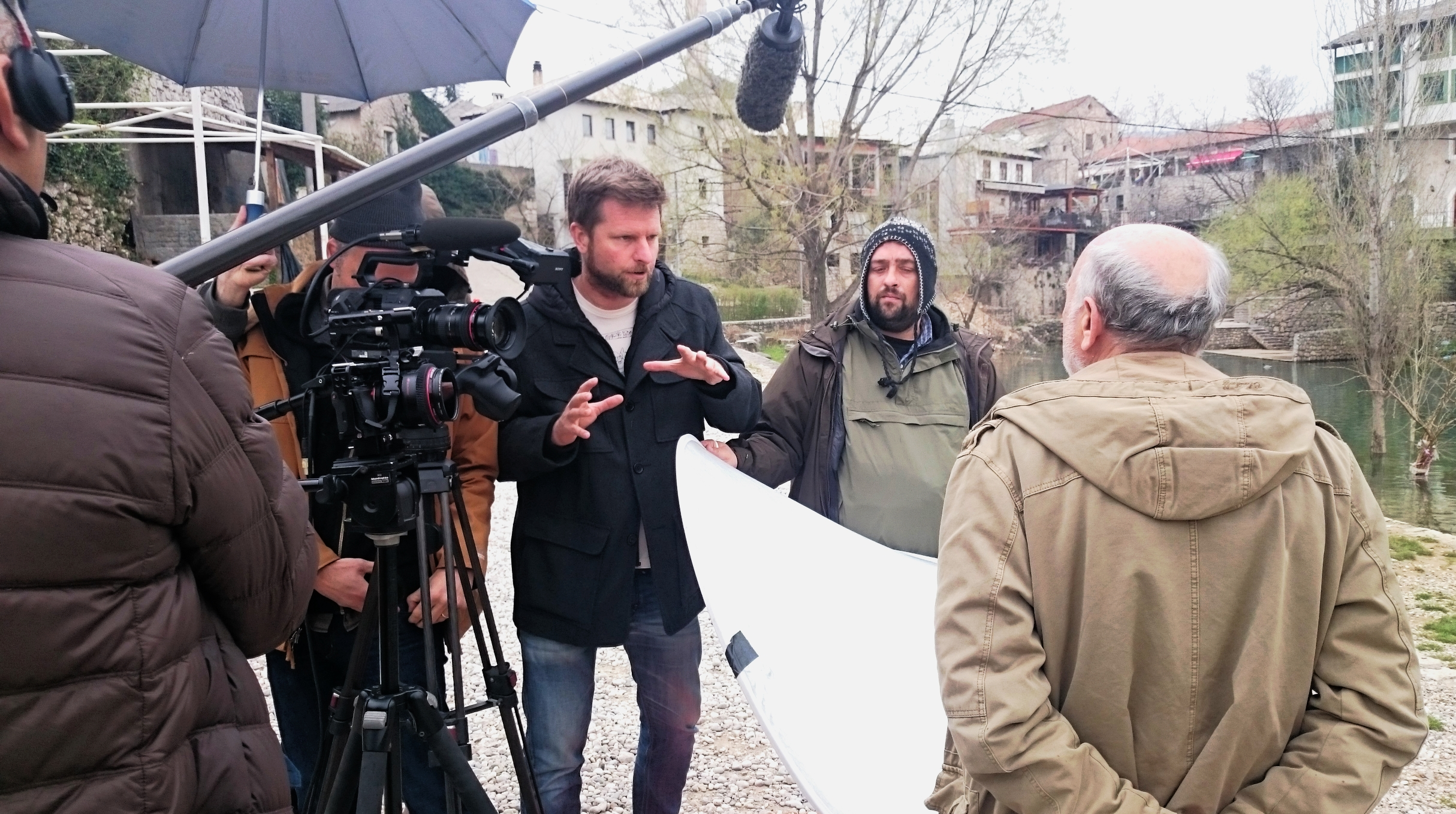Tim directing an interview for 'The Destruction of Memory' in Mostar, Bosnia. Image: Faris Dobraca.