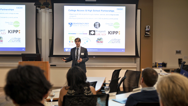 A Wharton MBA presenting then-WSVF's impact investing strategy in San Francisco in 2013