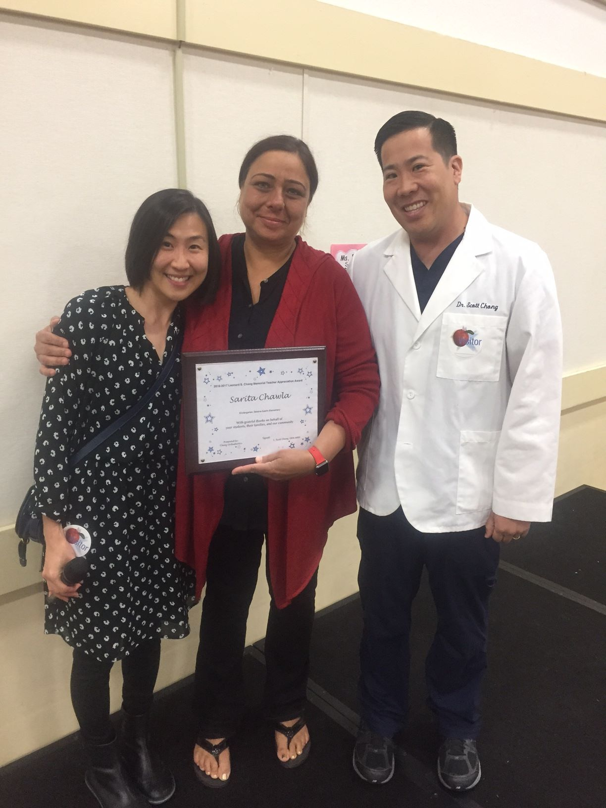Left: The nominating parent, Mrs. Chan; Mrs. Sarita Chawla; and Dr. Scott Chong