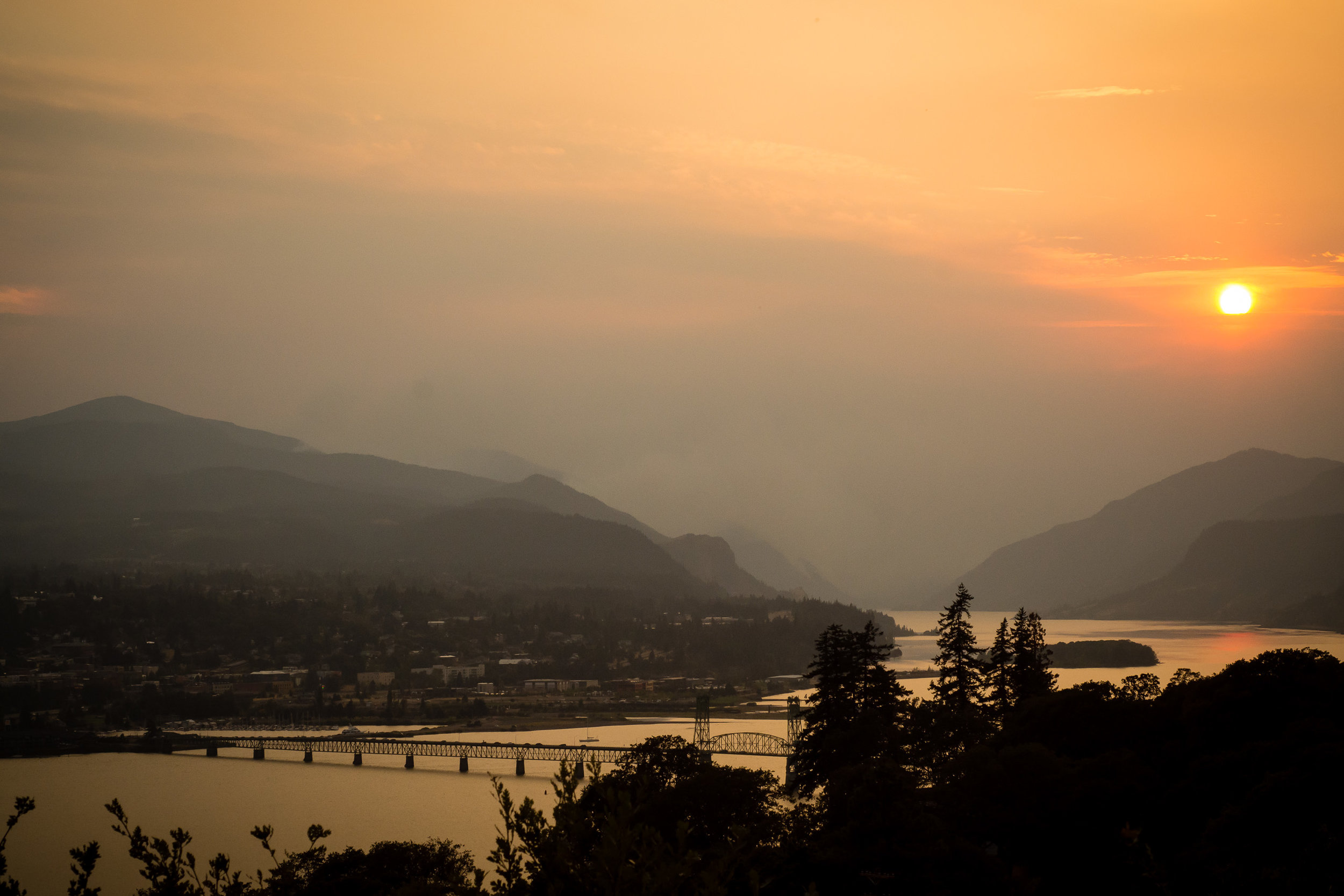 A smokey sunset in the Gorge.