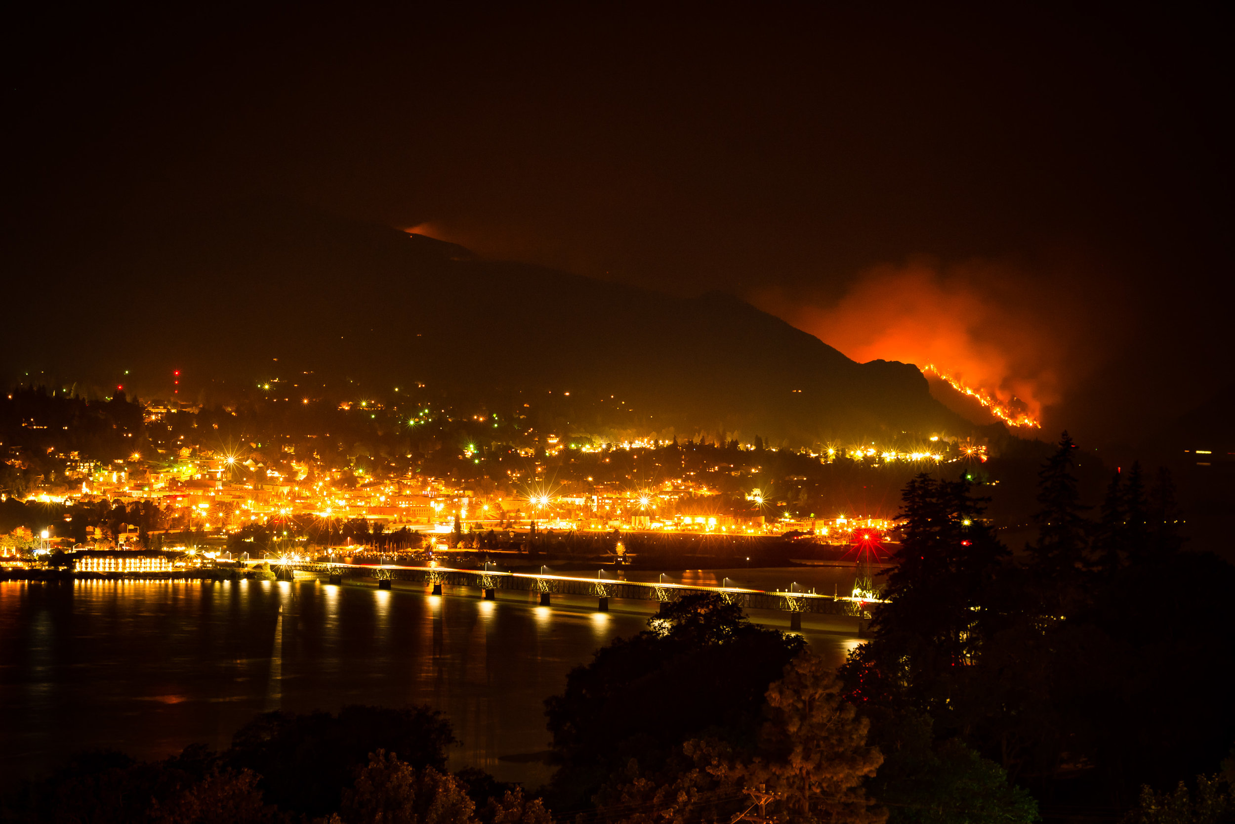 Hood River, OR with the Eagle Creek Fire looming in the distance.