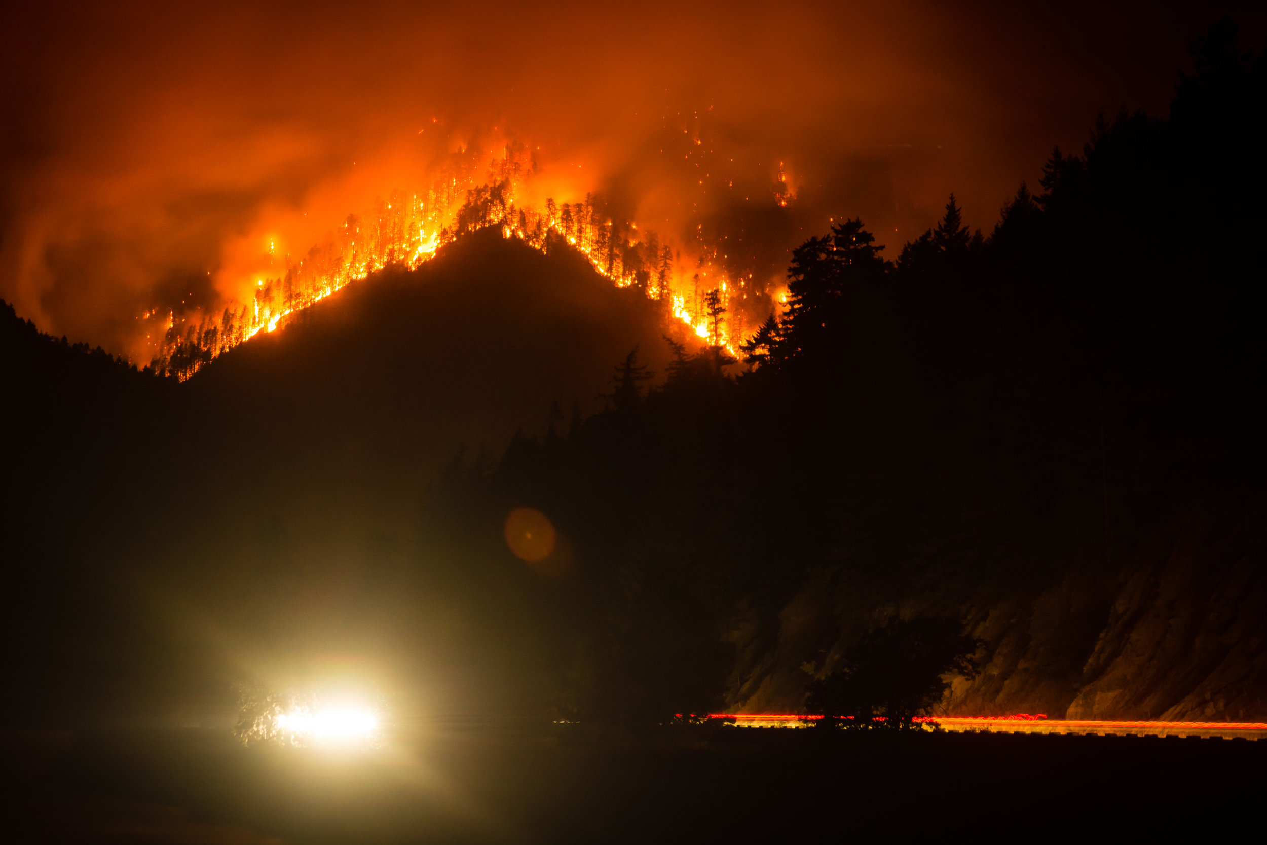 Eagle Creek Fire from Washington State Route 14