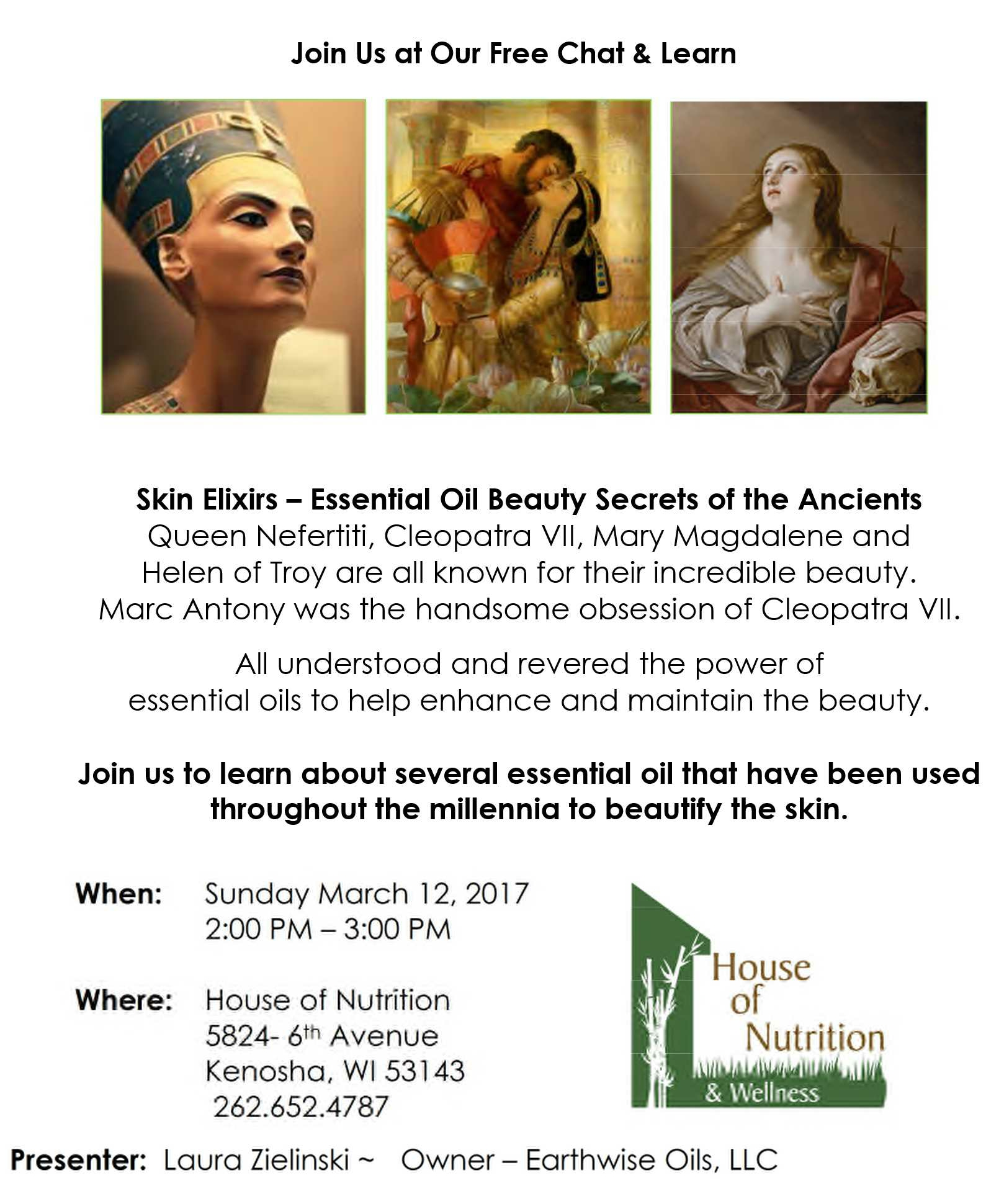 Free Chat & Learn @ House of Nutrition, Kenosha, WI - Skin Elixers of the Ancients