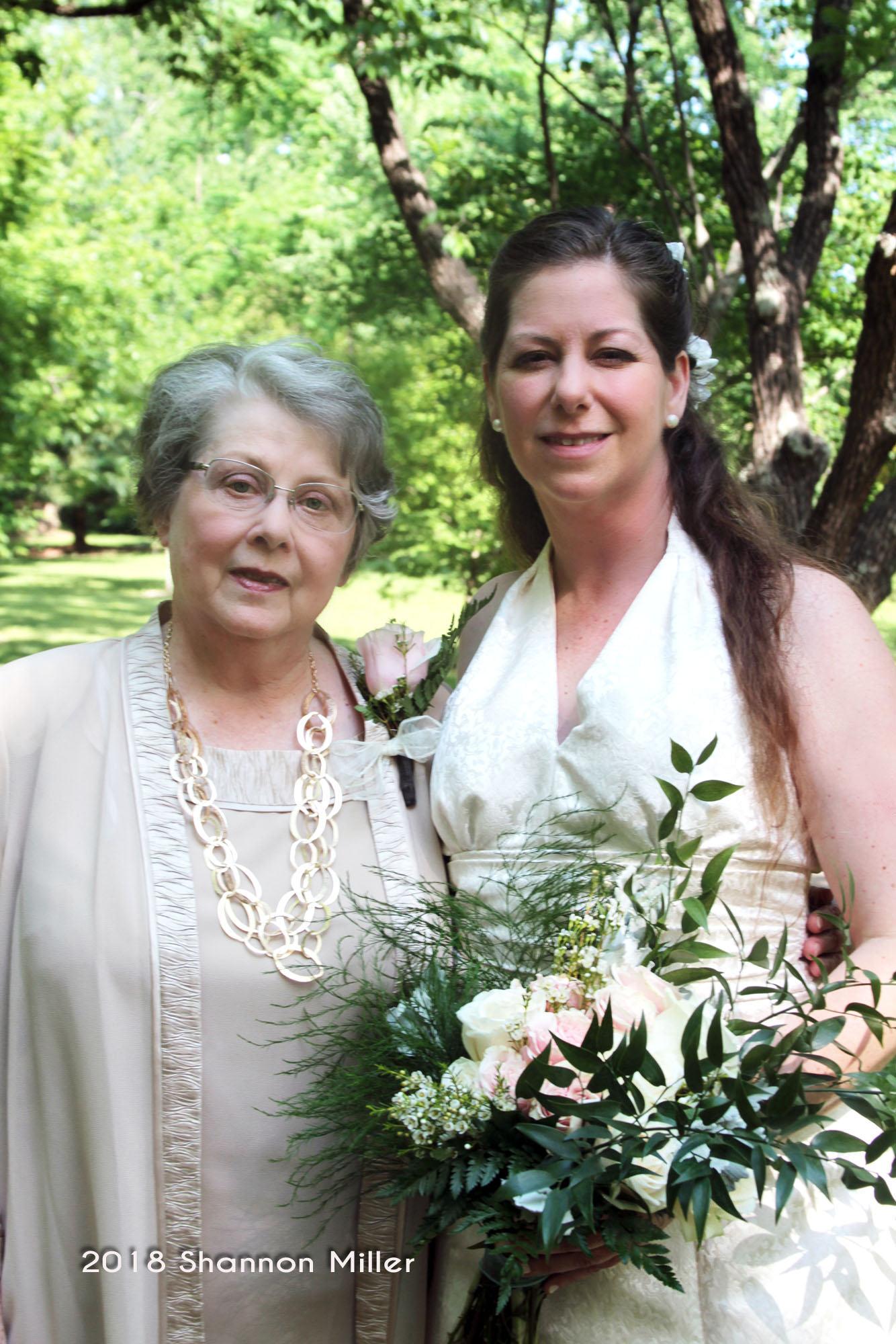 The bride's mother, Jan with her beautiful bride daughter