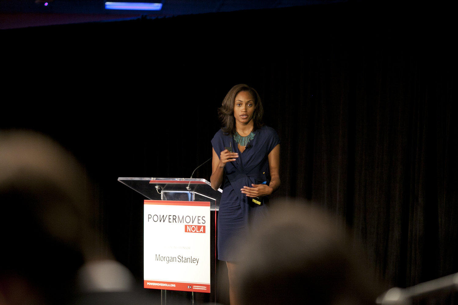 During the 2nd annual conference in New Orleans, PowerMoves showcased the most promising founders of color from across the nation.Jewel Burks, Co-Founder of Partpic, competes in the Morgan Stanley Series A Pitch.